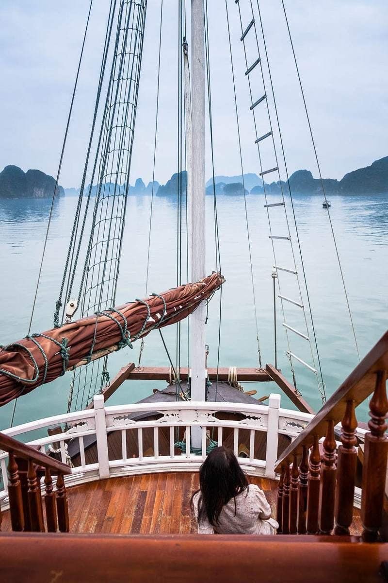 Tourist woman cruise ship Halong Bay Vietnam