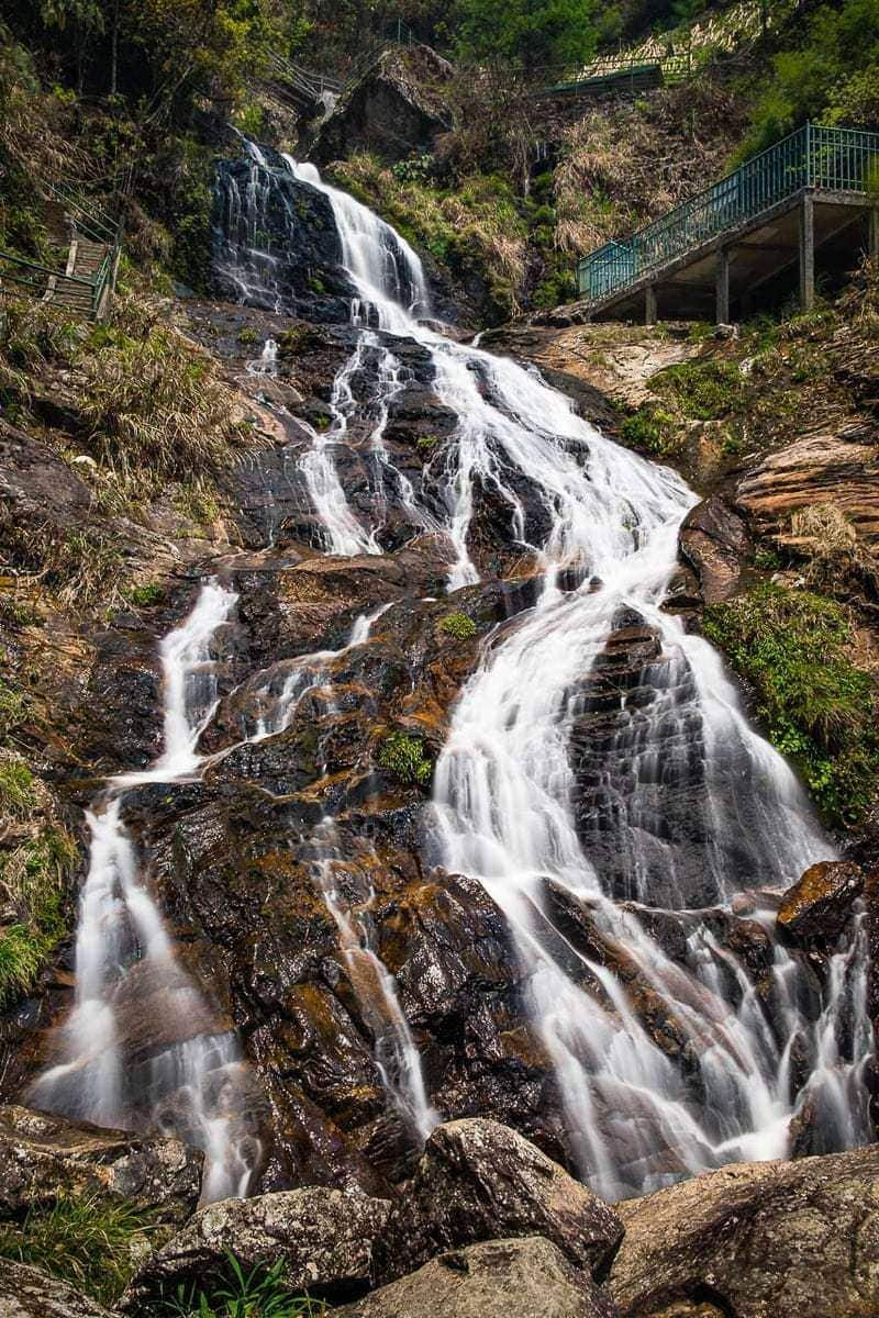 Long exposure photo Thac Bac Silver Waterfall Sapa Vietnam
