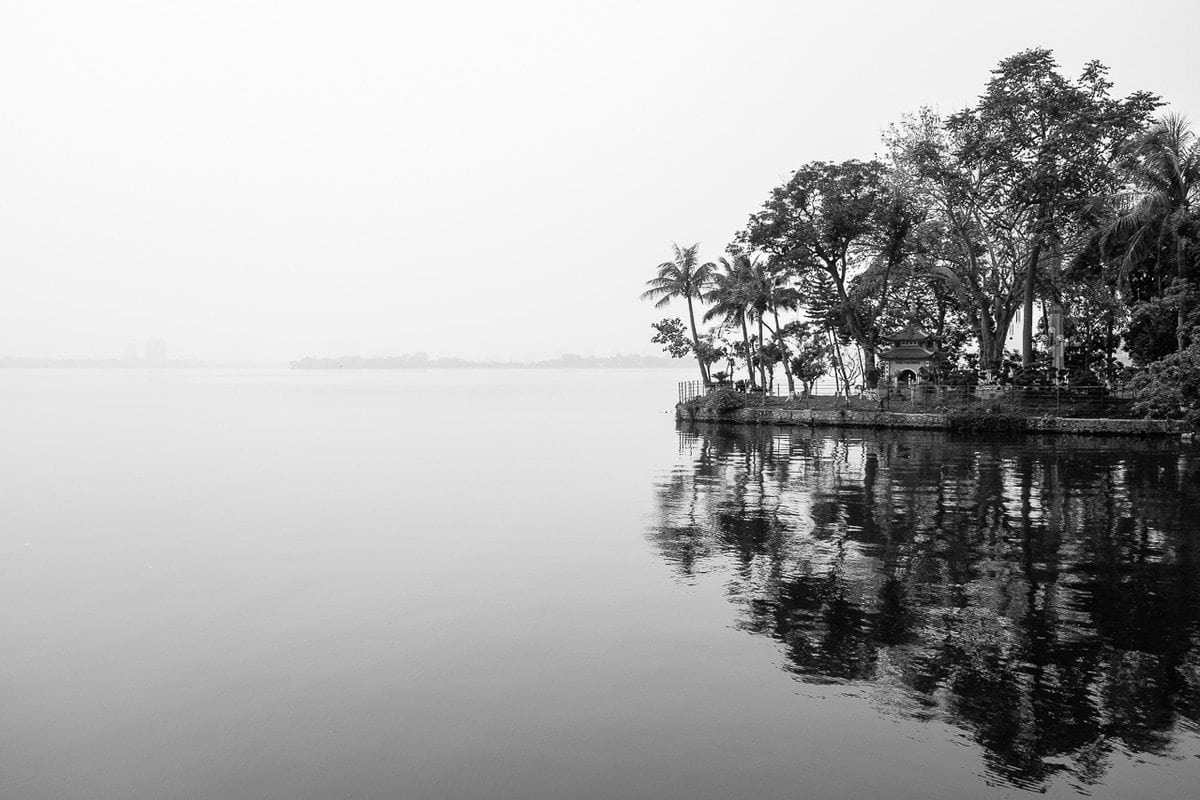 B&W reflection Golden Fish islet Ho Tay West Lake Hanoi
