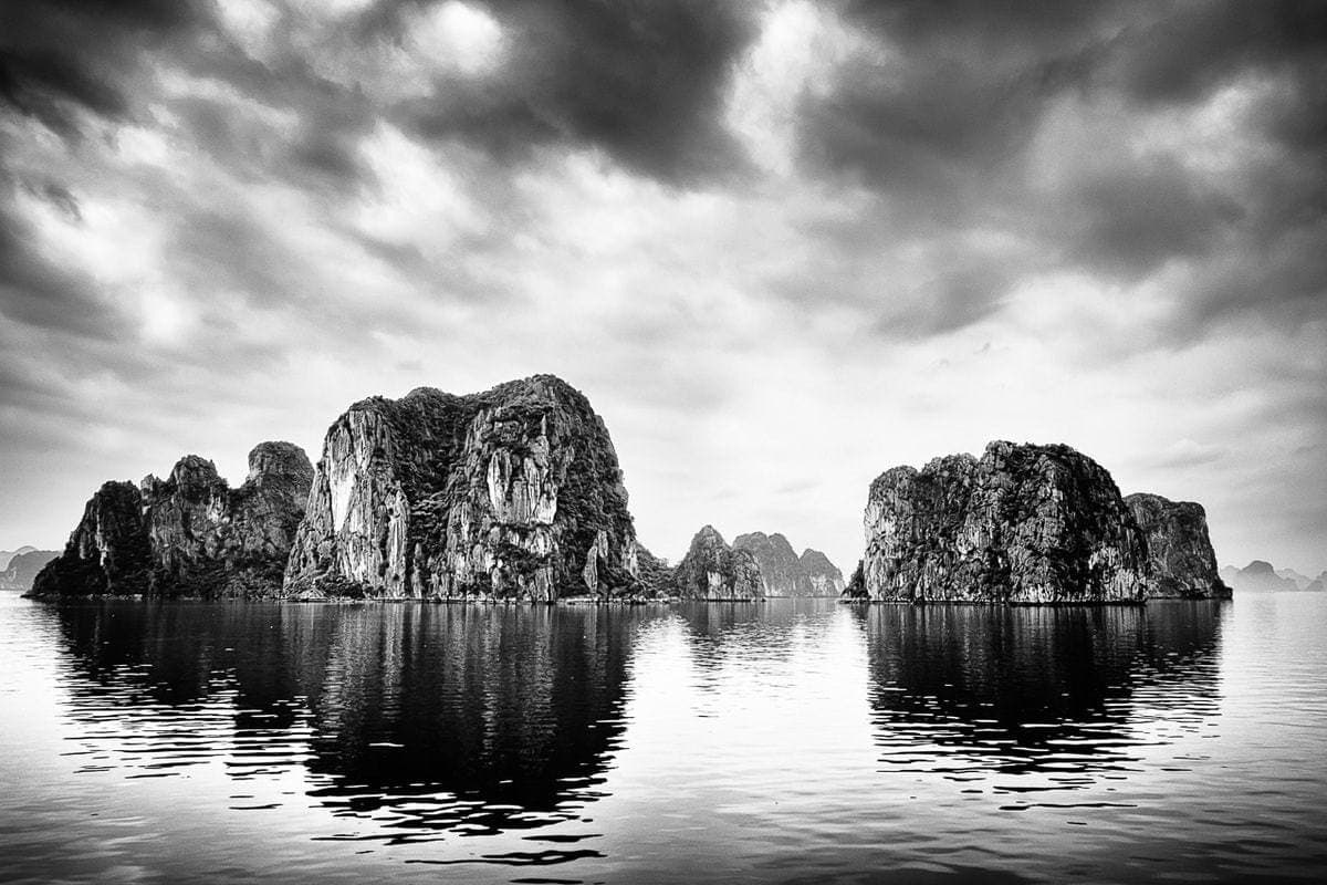 B&W photo Rocks Halong Bay Vietnam