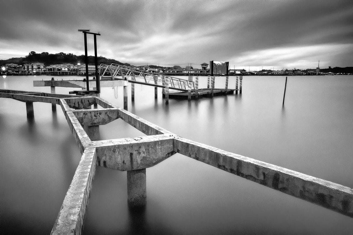 B&W long exposure photo old pier Bandar Seri Begawan Brunei
