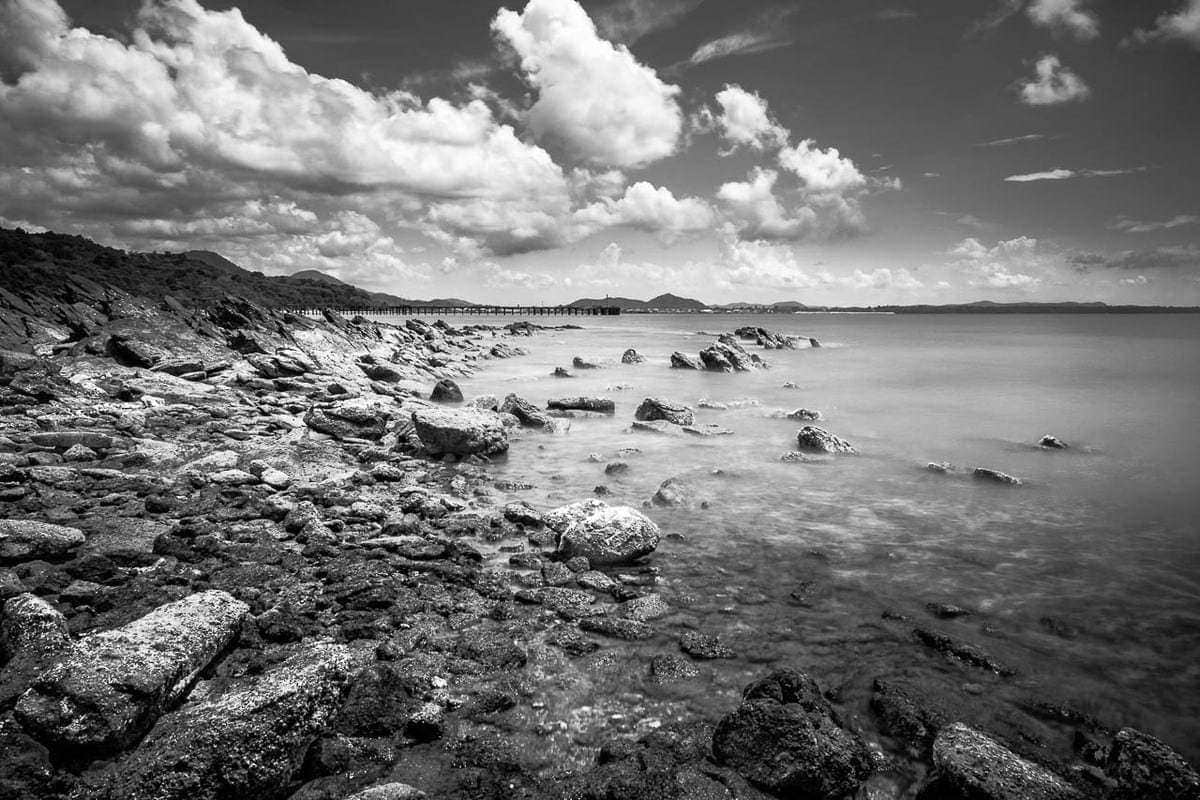 B&W long exposure Ban Phe beach Rayong Thailand