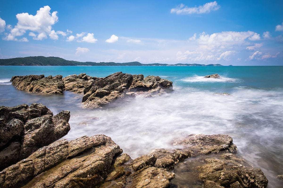 Seascape photo morning Ban Phe beach Rayong Thailand