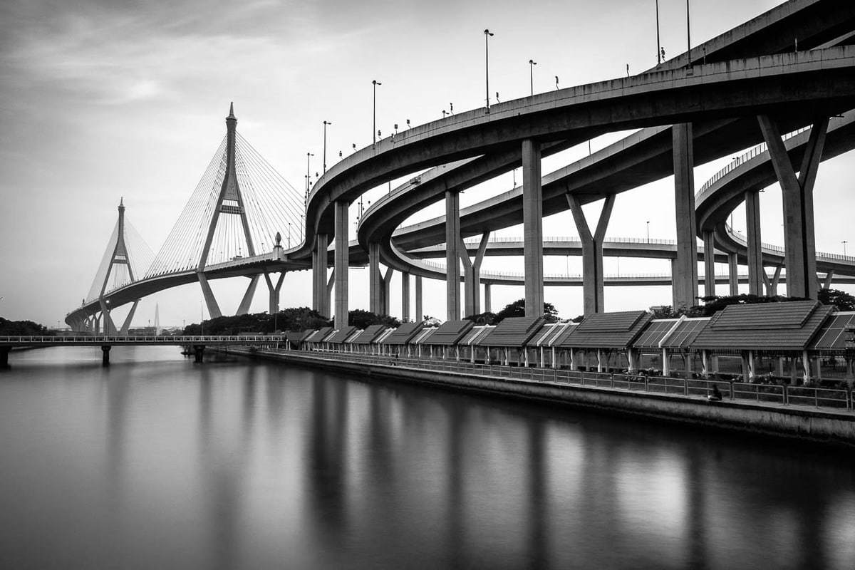 B&W photo Bhumibol Bridge Industrial Ring Road Bangkok Thailand