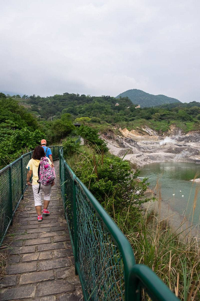 Visitors trek to go to the active fumaroles at Beitou. Yangmingshan National Park, Taipei, Taiwan.