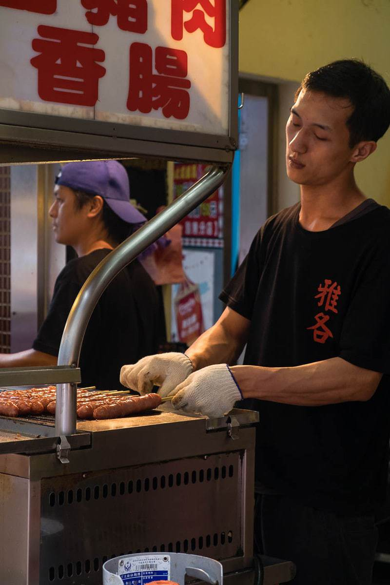 Street food vendor on Wulai Street. Wulai District, New Taipei City, Taiwan.
