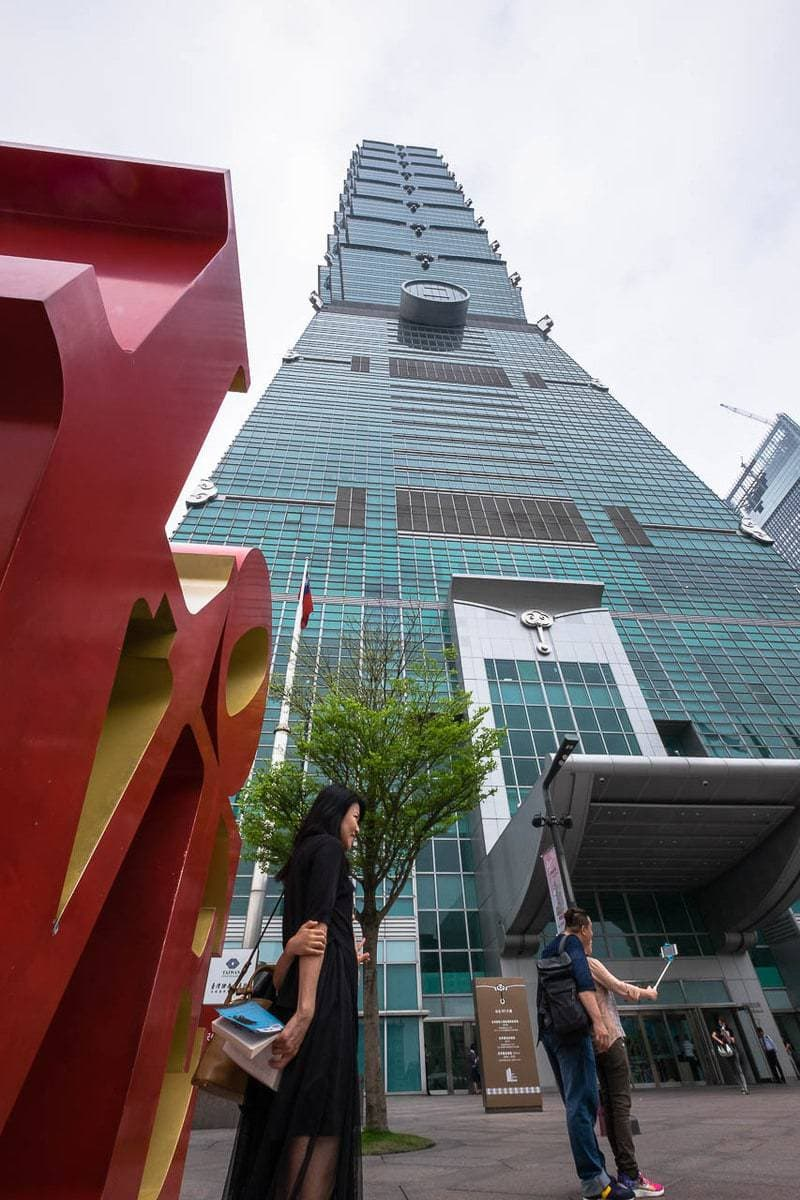 Love sculpture. TAIPEI 101 Building formerly known as the Taipei World Financial Centre. Taiwan.