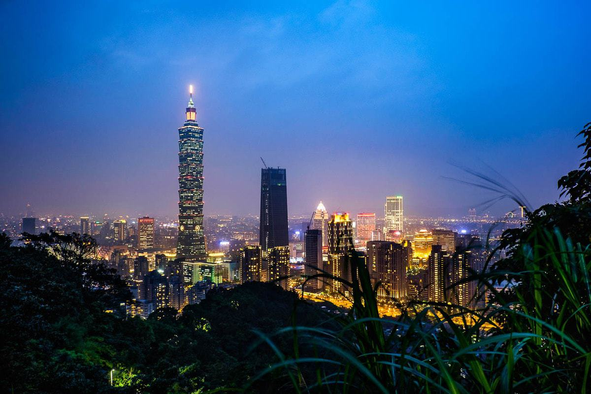Taipei cityscape with the TAIPEI 101 Building by night from Elephant Hill. Taipei, Taiwan.