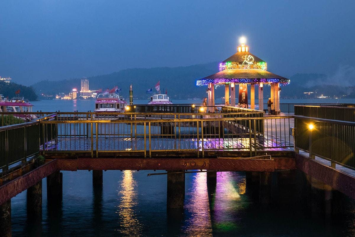 Ita Thao (Yi Da Shao) Wharf by night. Sun Moon Lake, Taiwan.