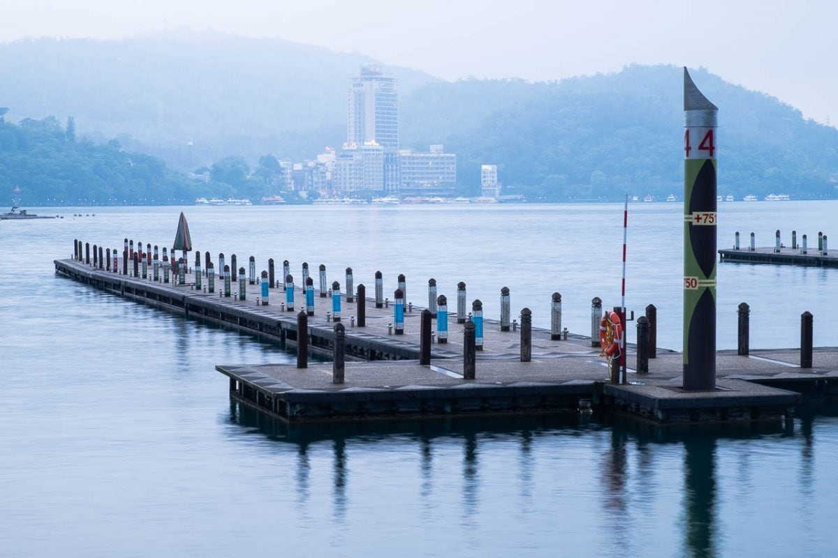Misty evening at Xuan Guang Wharf. Sun Moon Lake, Taiwan.
