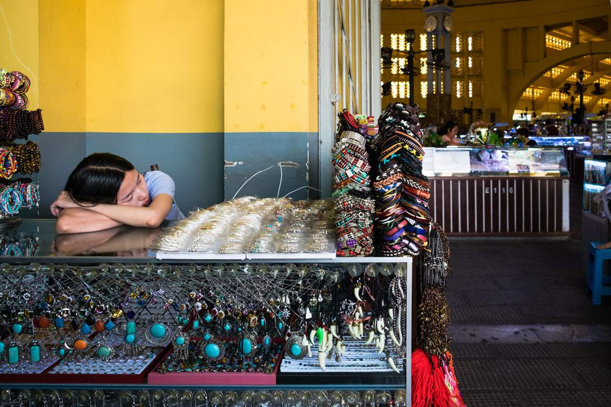 Sleeping beauty at the Central Market. Phnom Penh, Cambodia.