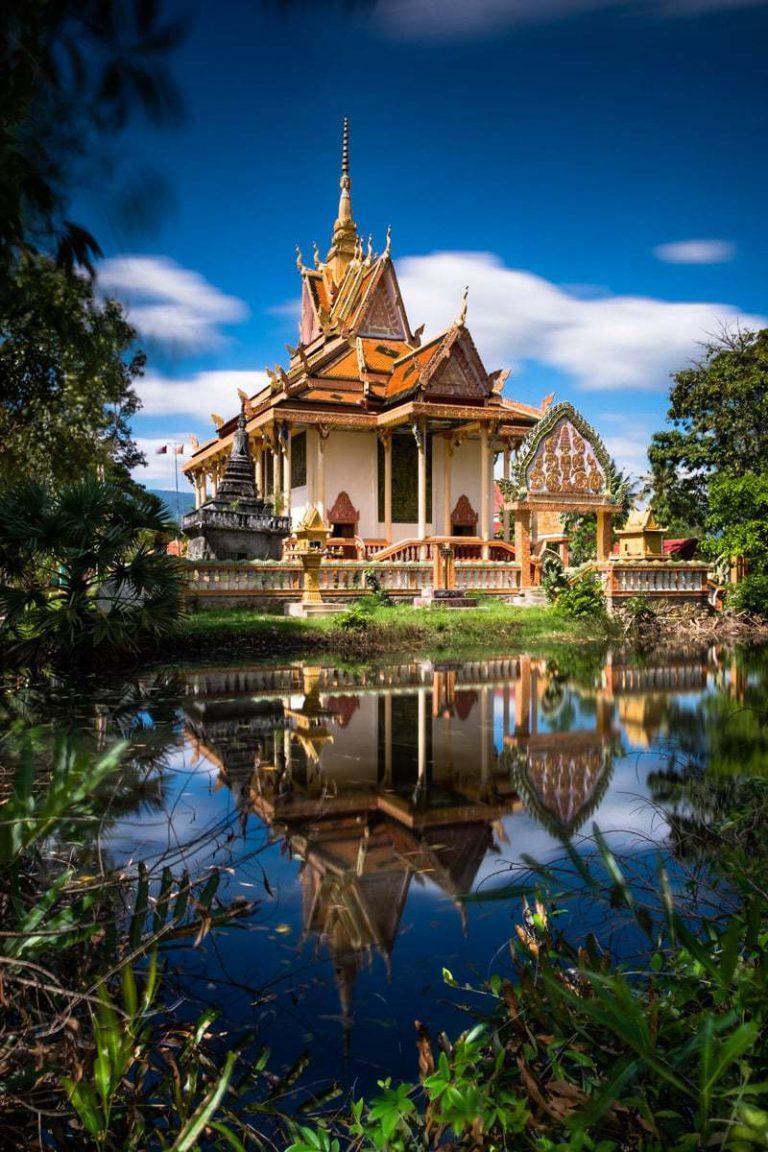 Buddhist temple by the Kampot River. Kampot, Cambodia.