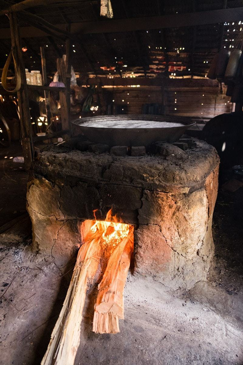 The fire stove with the boiling sap.