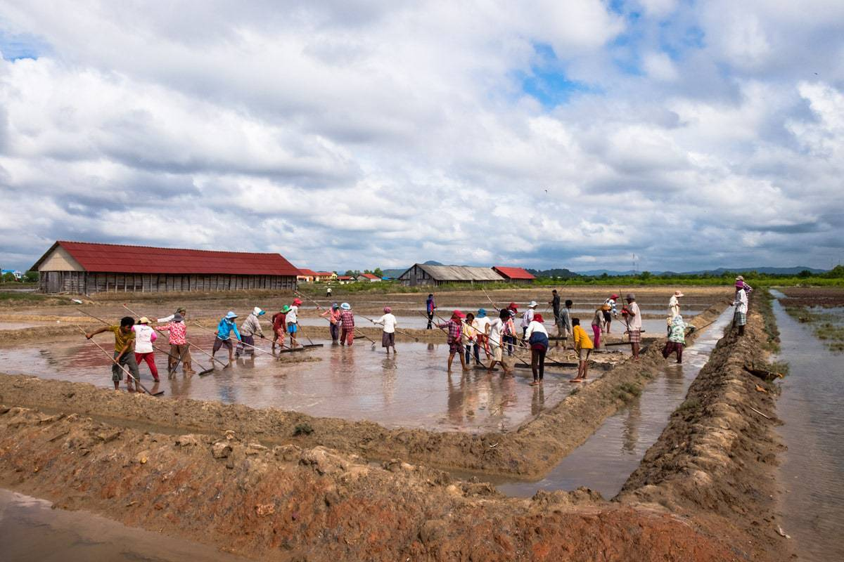 Khmer farmers work at salt fields. Kampot, Cambodia.