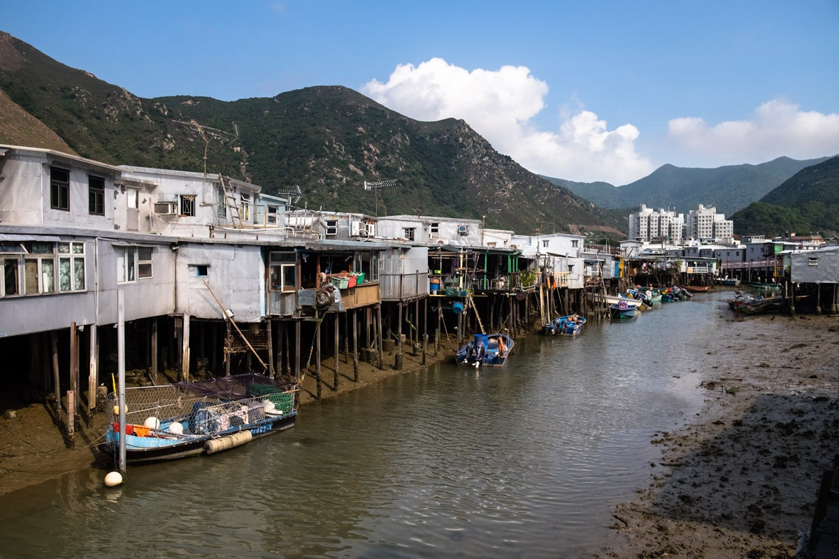 Boats and stilt houses at the fishing village Tai O. Lantau Island, Hong Kong.