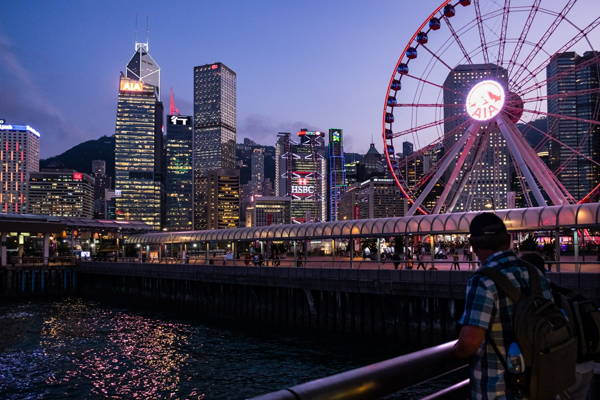 Enjoy the view. The Hong Kong Observation Wheel. Central Pier No. 9, Hong Kong Island. Hong Kong.