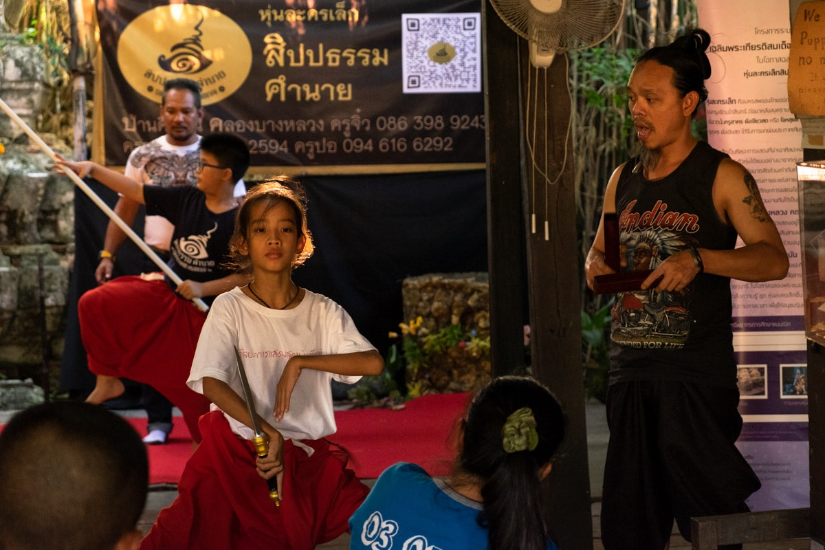 Young Thai traditional dancer rehearses at the Artist's House.