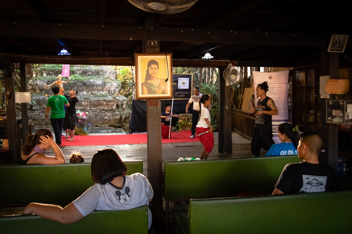 Thai traditional dancers and puppetteers rehearse at the Artist's House.