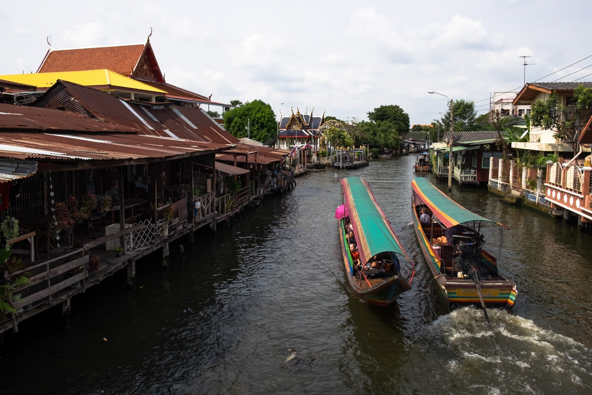 Two tourist long-tail boats on Bang Luang Canal.