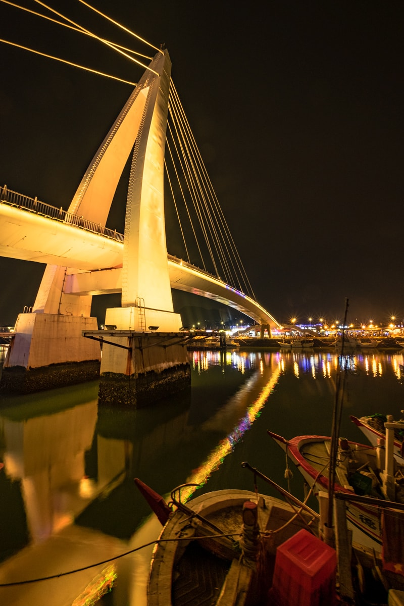 The Tamsui Lovers' Bridge by night. Tamsui, New Taipei, Taiwan.