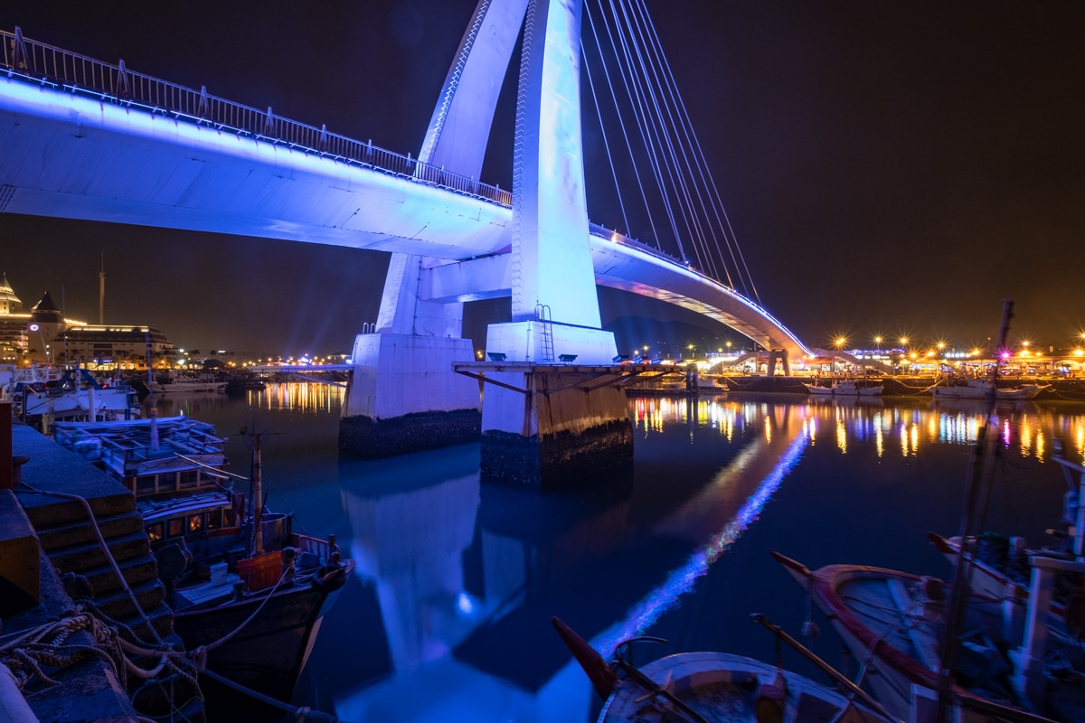 Lovers Bridge by night. Tamsui Fisherman's Wharf. New Taipei City, Taiwan.