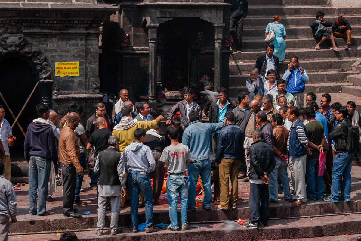 Hindu funeral on the Bagmati River at Pashupatinath Temple. Kathmandu, Nepal.