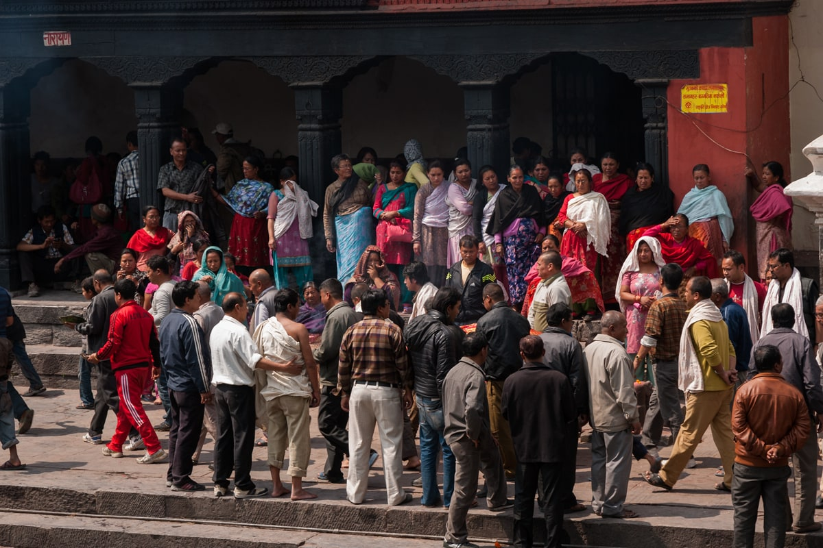 Hindu funeral on the Bagmati River at Pashupatinath Temple in Kathmandu, Nepal.