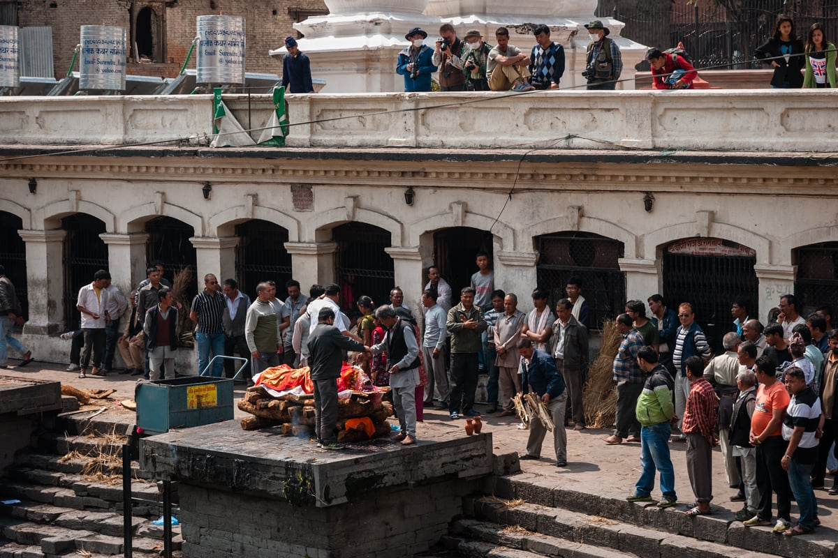 Cremations on the Bagmati River at Pashupatinath Temple in Kathmandu, Nepal.