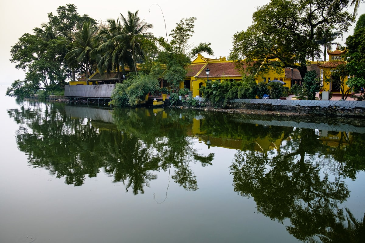 Reflection at Kim Ngu (Golden Fish) islet of Ho Tay (West Lake) in Hanoi, Vietnam.