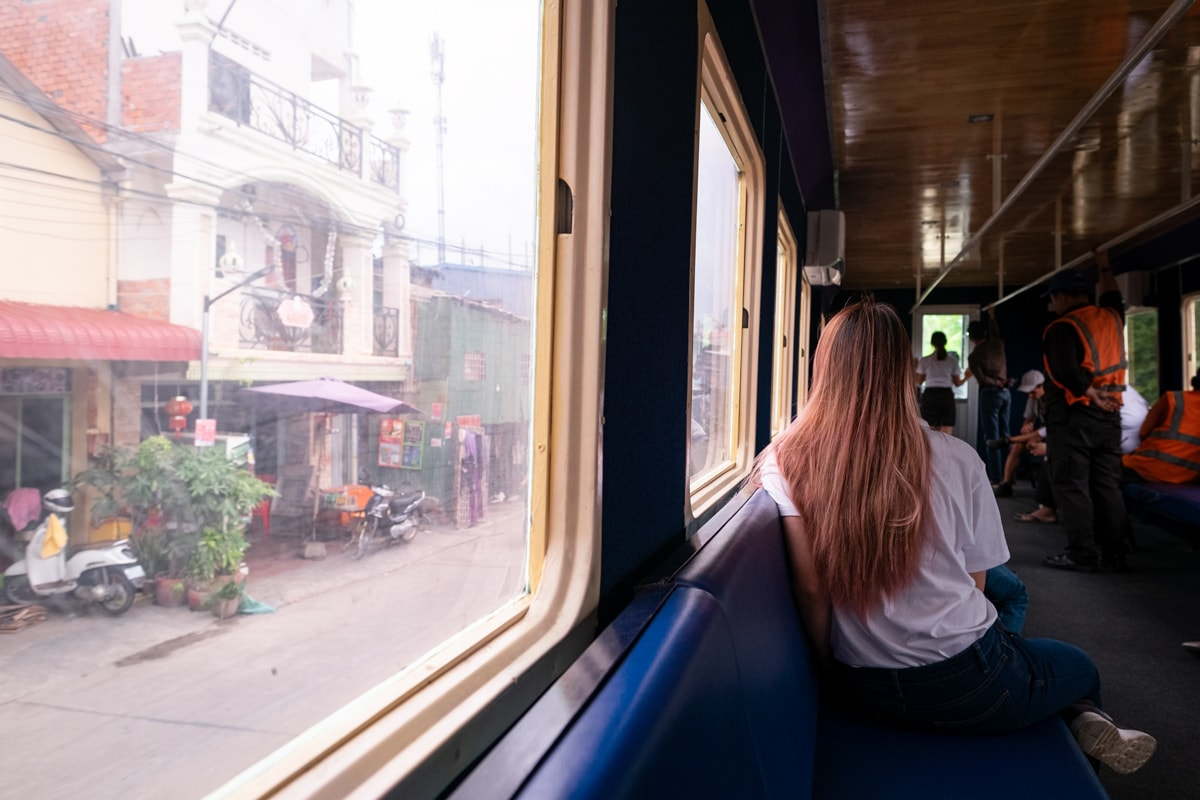 Inside the train from Phnom Penh Railway Station to Phnom Penh International Airport. Cambodia.
