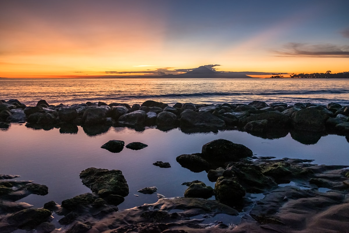 Sunset over Mount Agung. Senggigi Beach, Lombok Island, Indonesia.