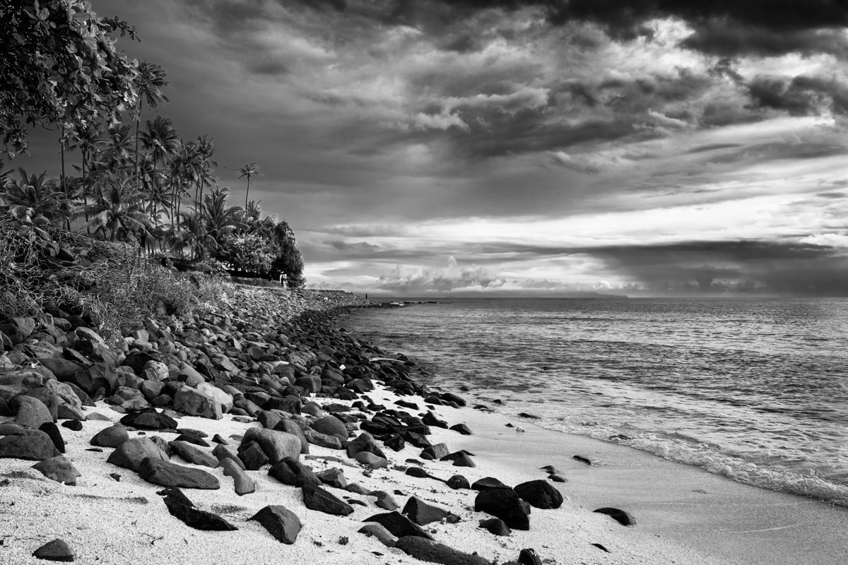 A Black & White image of Senggigi Beach after a storm. Lombok Island, Indonesia.