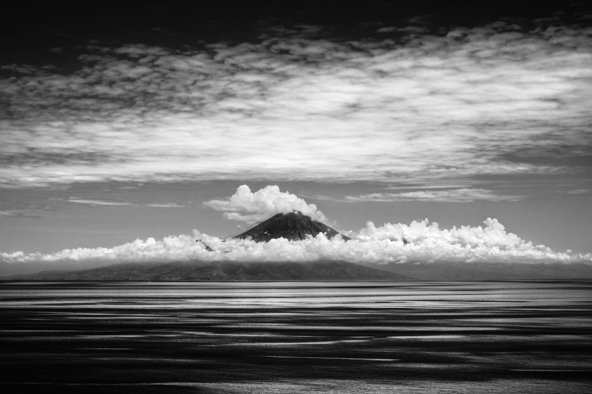 B&W image of Mount Agung on Bali photographed from Lombok Island, Indonesia.