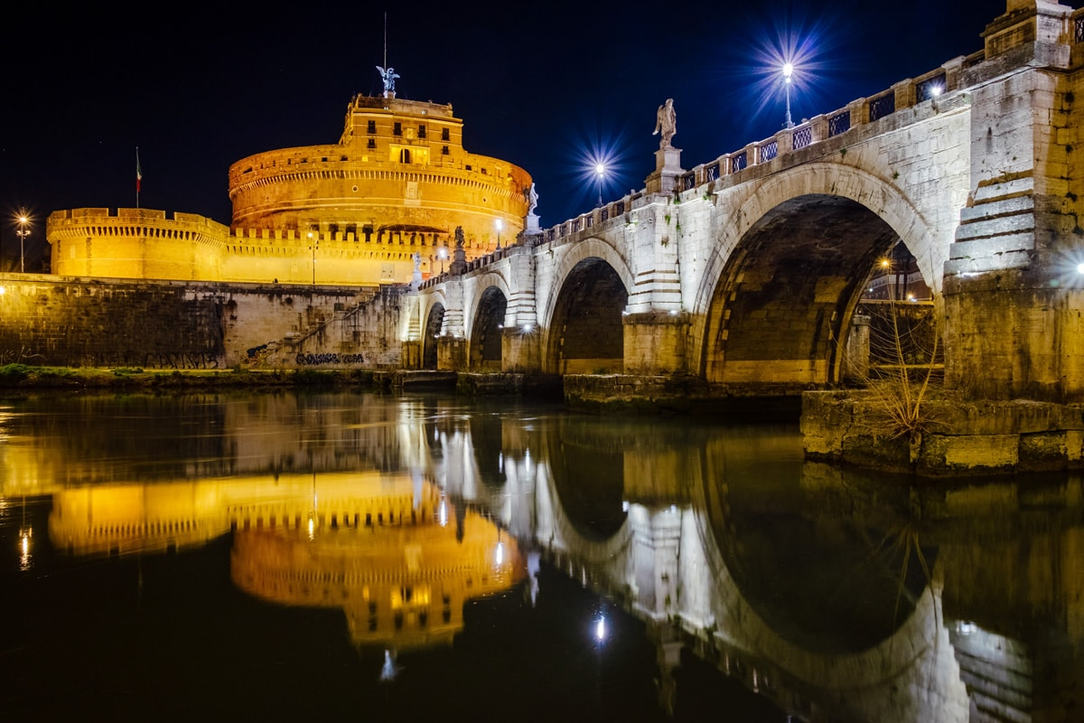 Museo Nazionale di Castel Sant'Angelo by night. Rome, Italy.