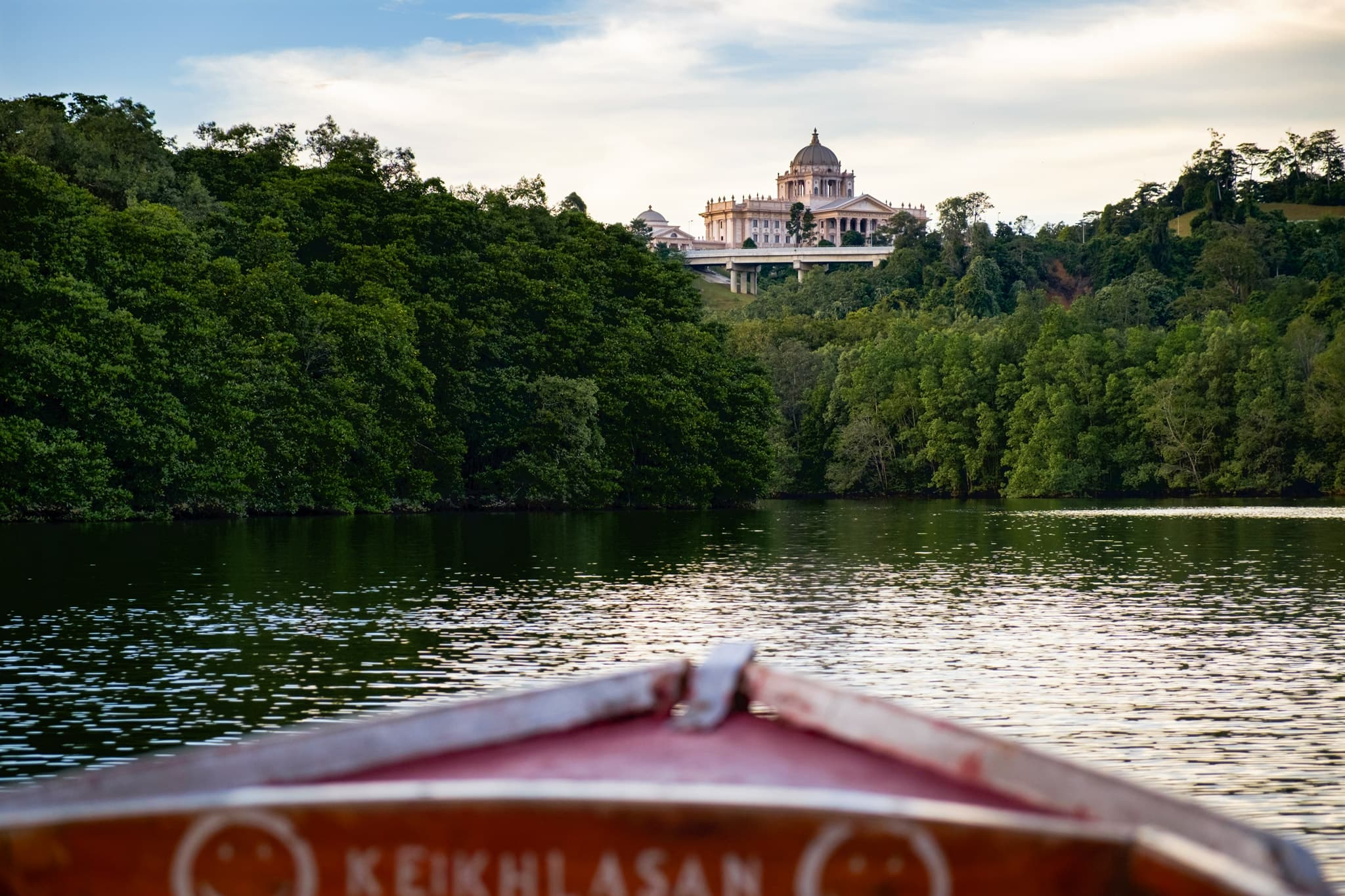 A view behind Istana Nurul Iman, the new palace for the crown prince, seen from the Brunei River in Bandar Seri Begawan, Brunei.
