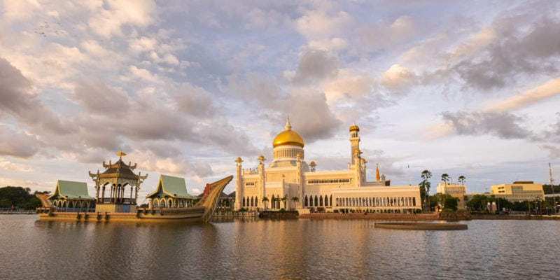 Travel photos of Brunei. Sultan Omar Ali Saifuddien Mosque at sunset, the royal Islamic mosque located in Bandar Seri Begawan, the capital of the Sultanate of Brunei.