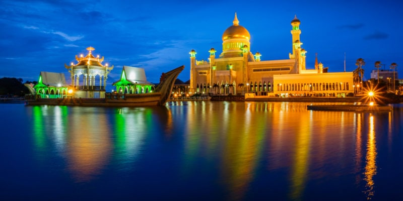 This is an evening shot of Sultan Omar Ali Saifuddien Mosque, the royal Islamic mosque located in Bandar Seri Begawan, the capital of the Sultanate of Brunei.