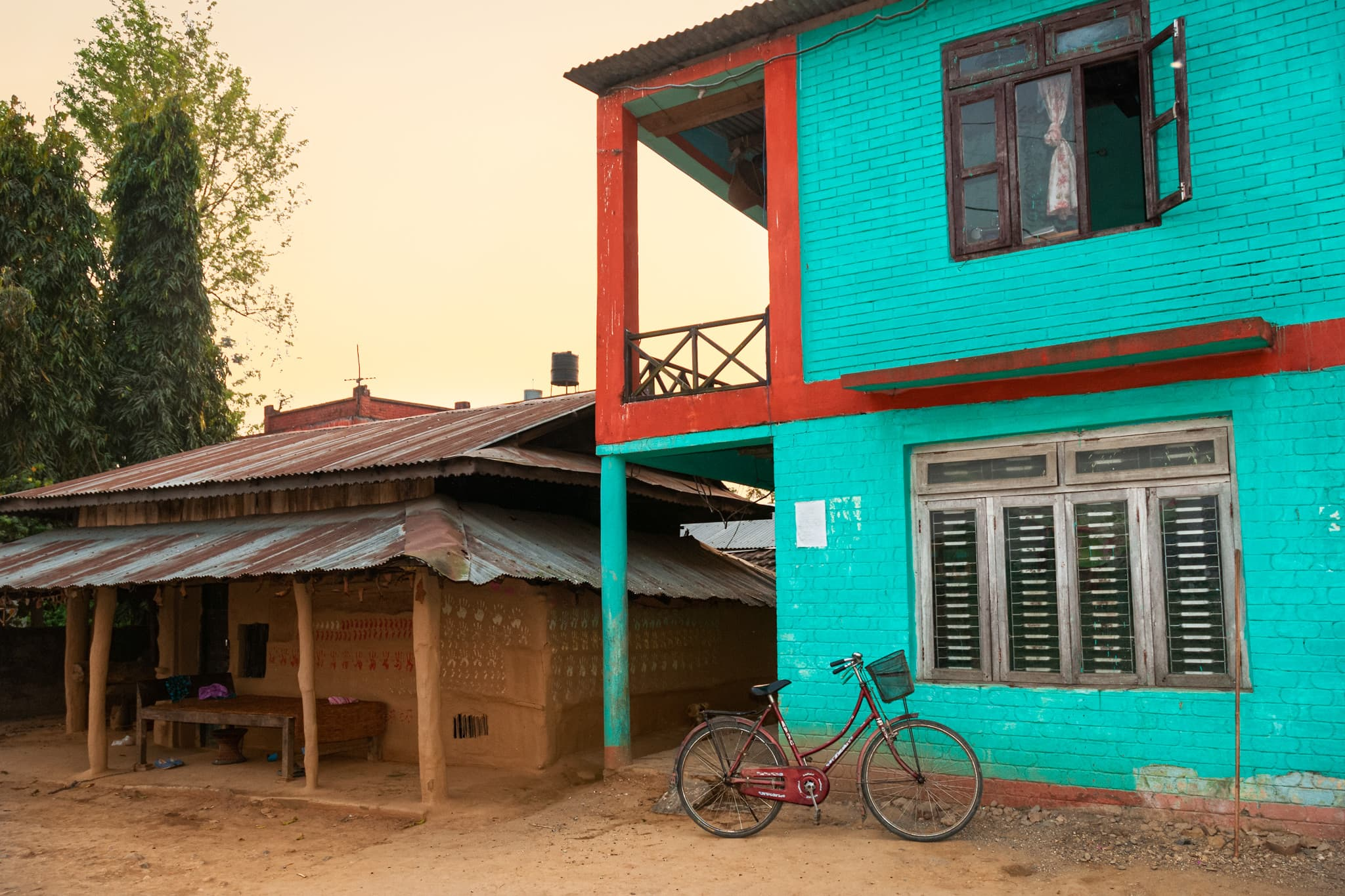 Traditional Tharu house in Chitwan, Nepal.