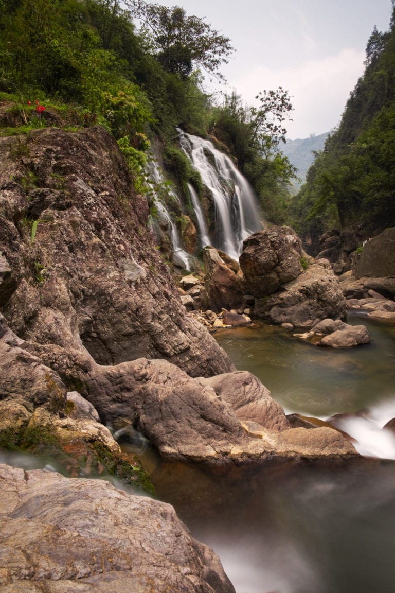 Cat Cat Waterfall. The water looks smooth and silky because of the long exposure. Sapa, Vietnam.