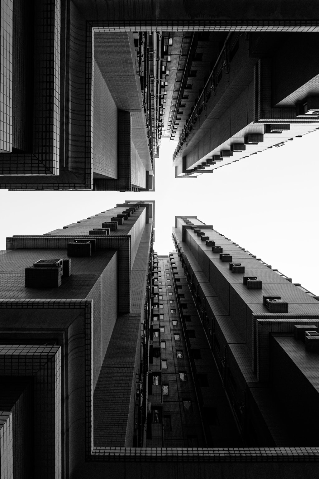 Black & white skyline of a building on Park Island. Ma Wan, Hong Kong.