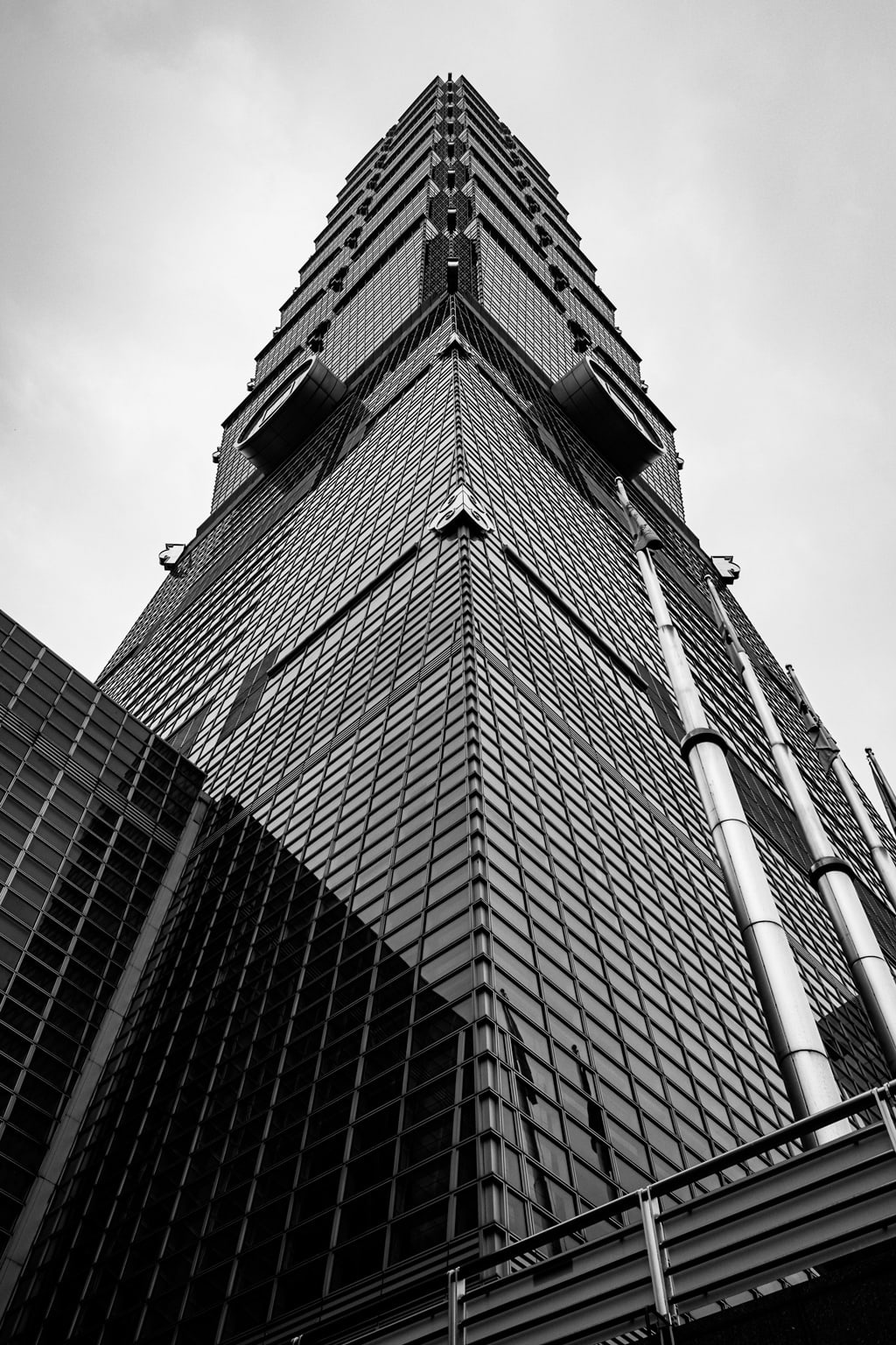 Black and white TAIPEI 101 Building. Taipei, Taiwan. Formerly known as the Taipei World Financial Centre.